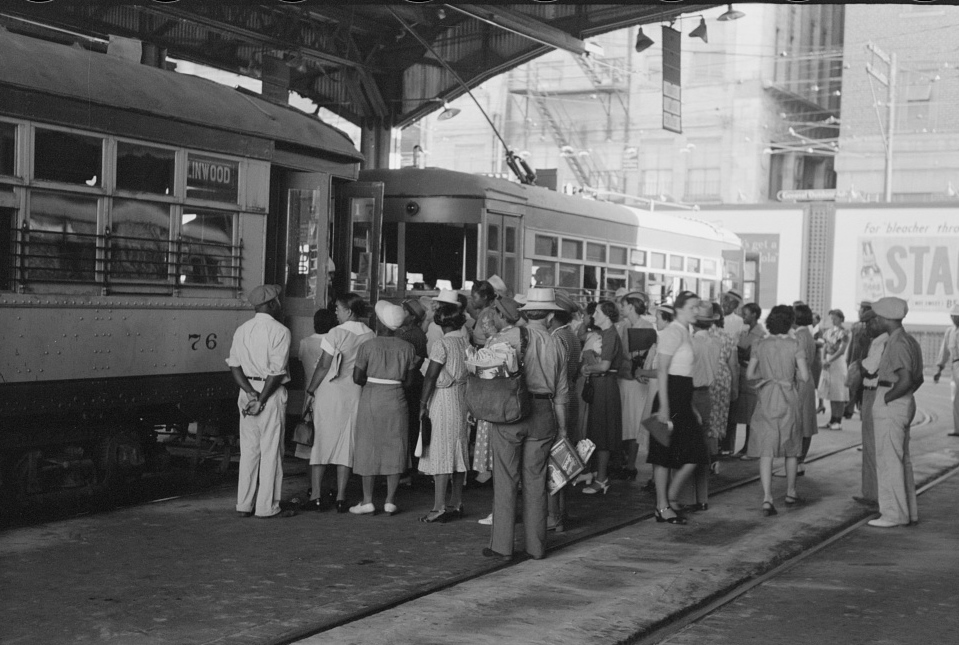People getting off and people waiting to get on streetcar. Terminal, Oklahoma City, Oklahoma