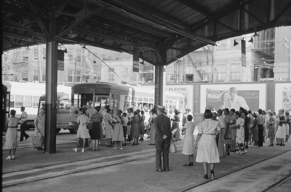 People waiting for streetcars to arrive. Terminal, Oklahoma City, Oklahoma