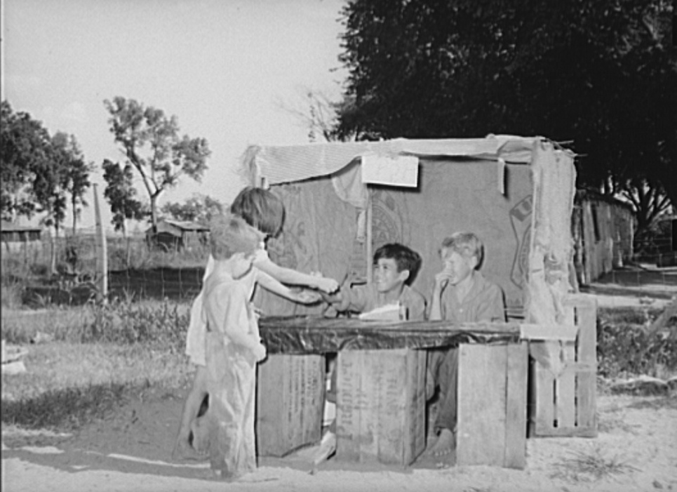Pop stand of children in community camp. Oklahoma City, Oklahoma
