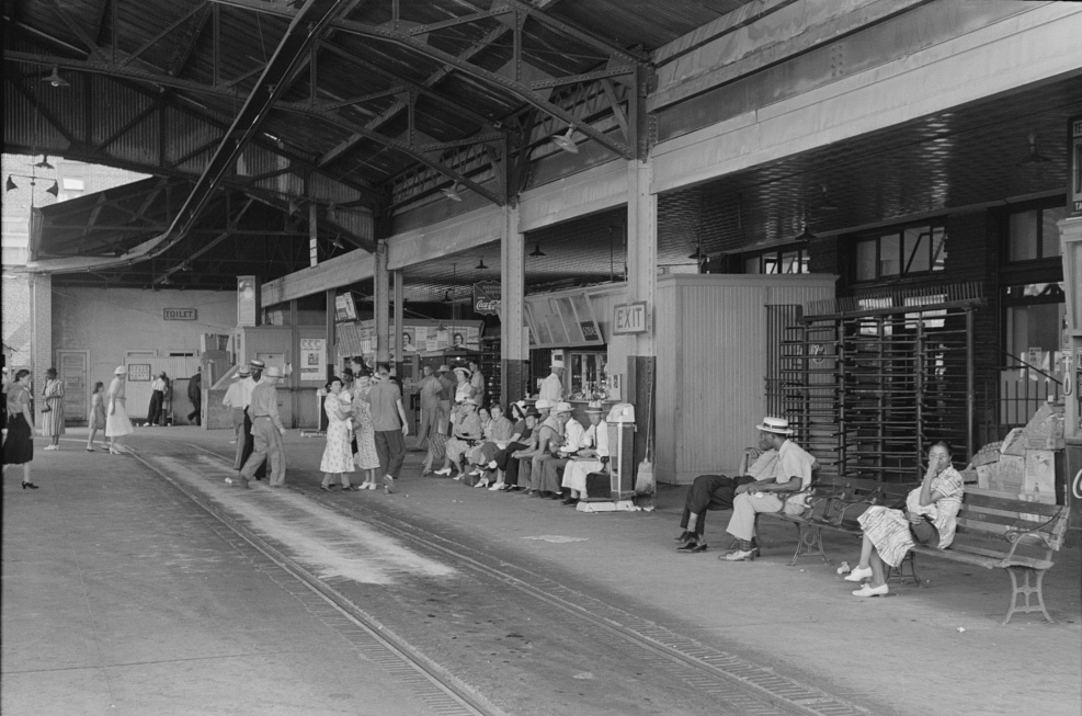 Streetcar terminal with people waiting for cars, Oklahoma City, Oklahoma
