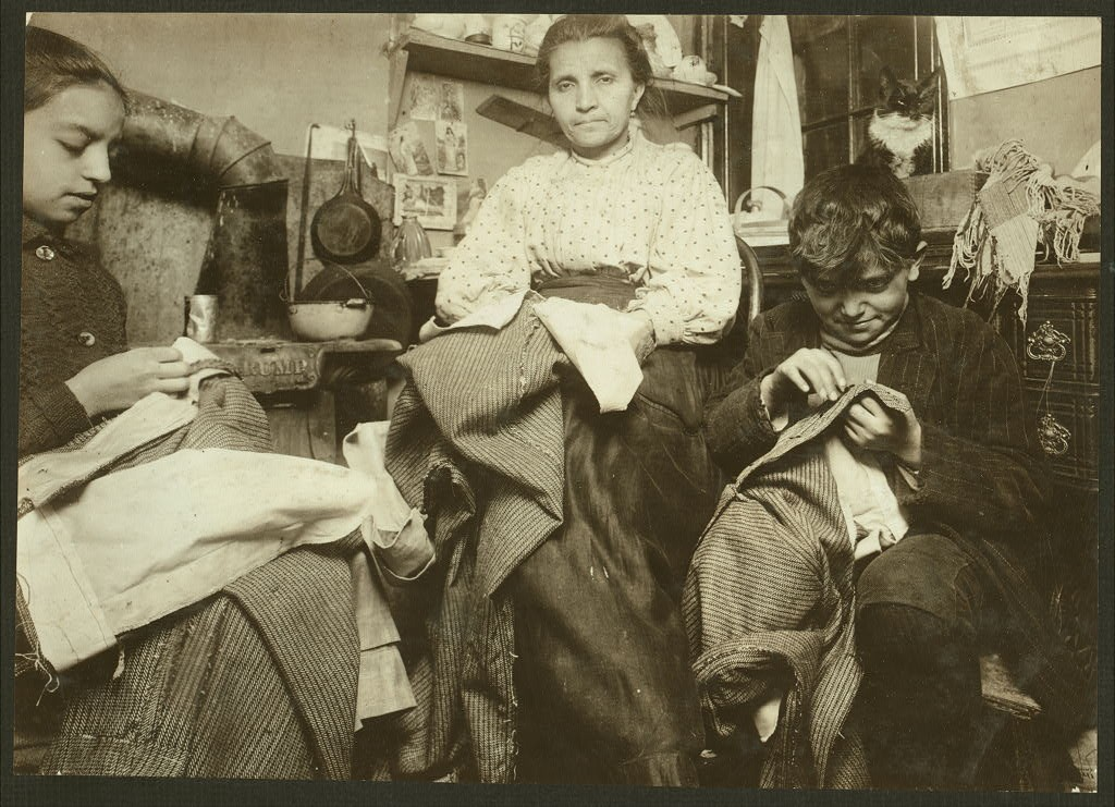 garment 2 high up on a rickity floor New york, Lewis Wickes Hine