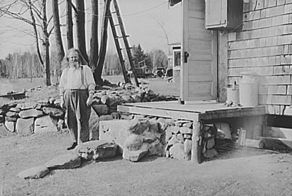 Hermit of Freeport, Maine standing outside his shack photographer Paul Carter 1936 - Resettlement Administration