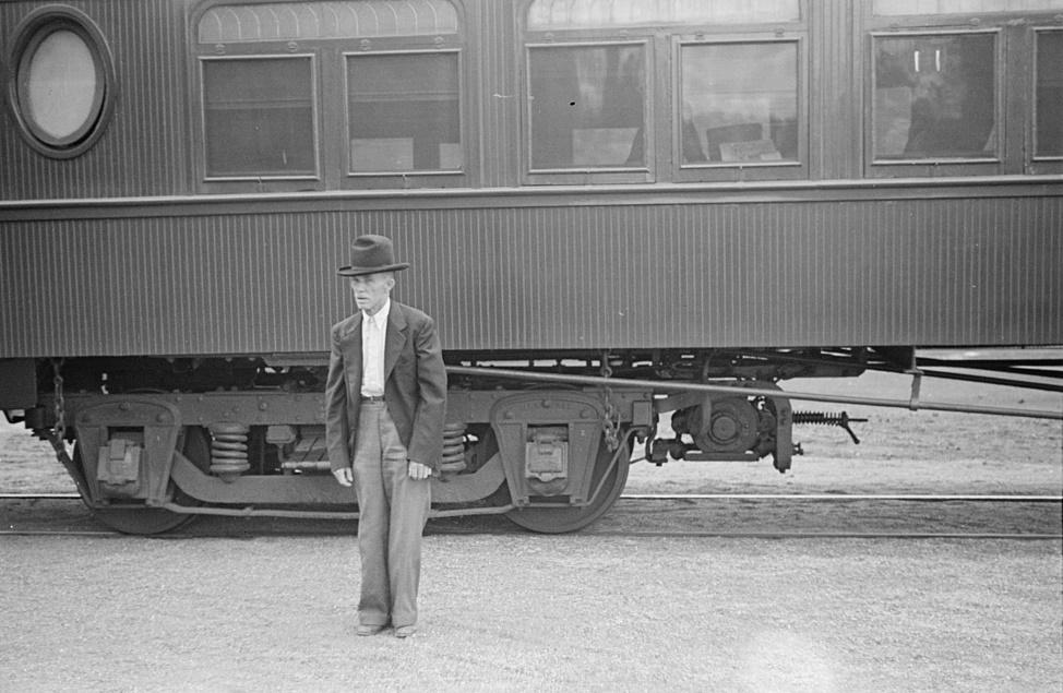 Man in rail station Georgia 1938