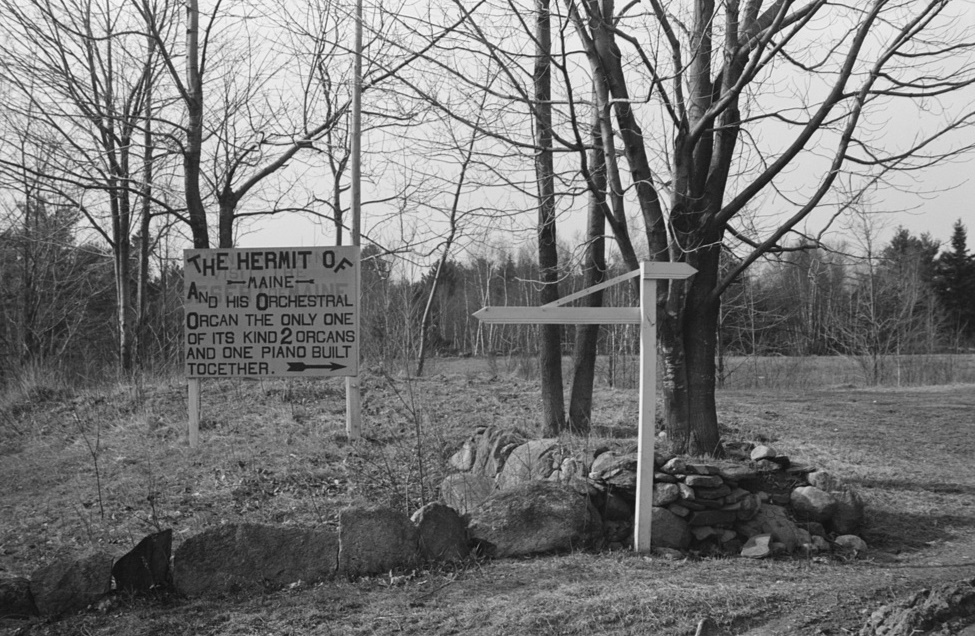 Sign erected by hermit in Freeport, Maine photographer Paul Carter -