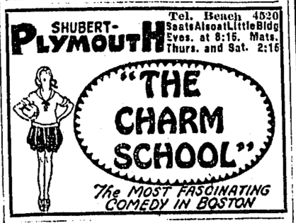 Charm school by Alice duer miller 1920_Plymouth_theatre_BostonGlobe_May10