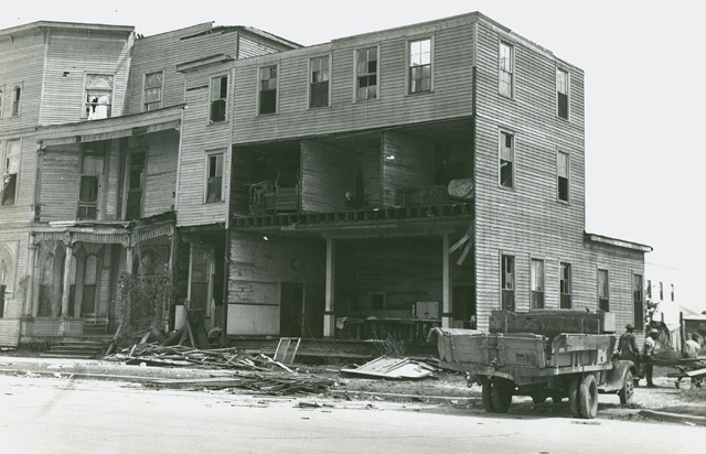 1943 Hurricane damage - Lucas Cafe (Texas City Library.org)