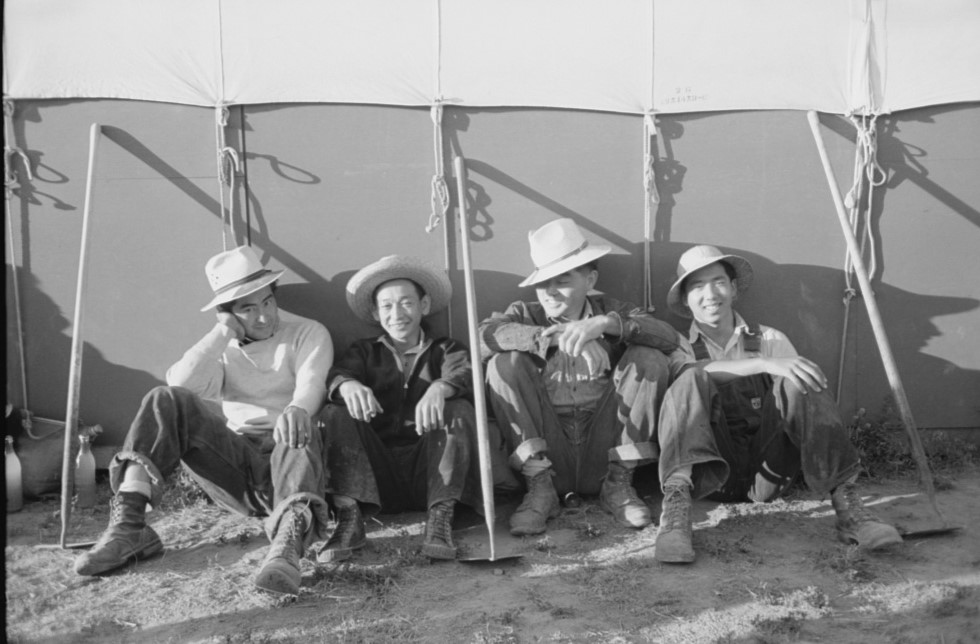 Nyssa, Oregon. FSA (Farm Security Administration) mobile camp. Japanese-American farm workers outside their tent