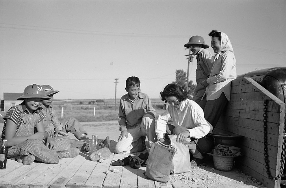 Nyssa, Oregon. FSA mobile camp. A Japanese-American farm worker's family having lunch