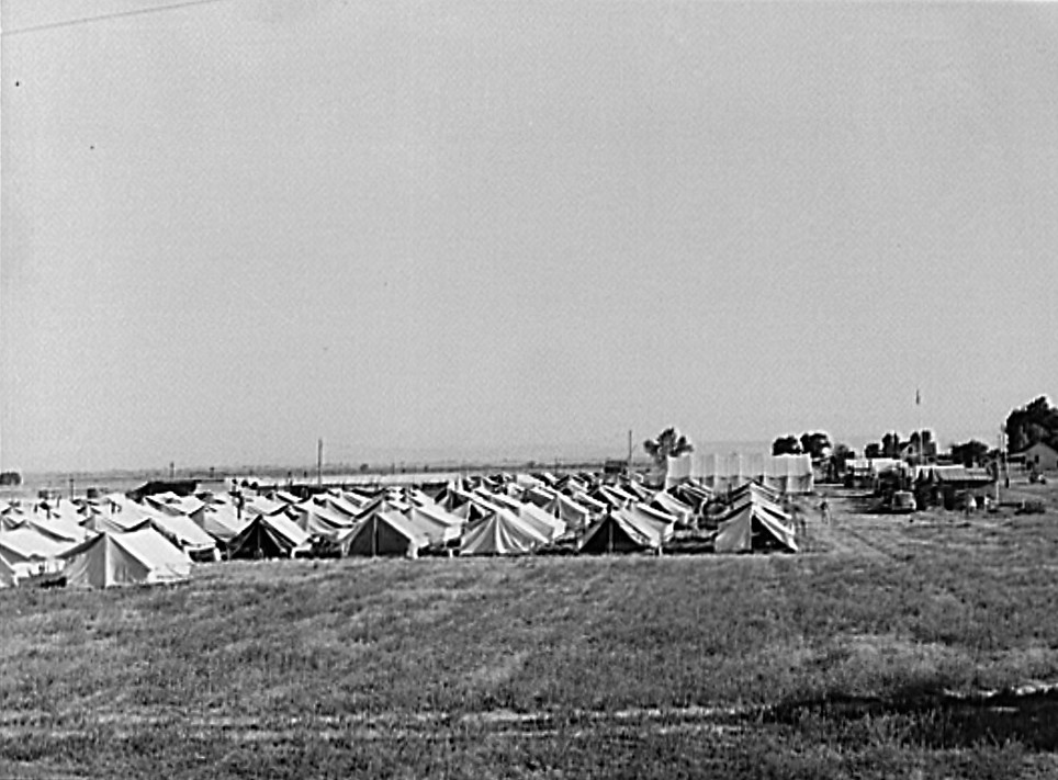 mobile camp now inhabited by Japanese-Americans who volunteered to do farm work.